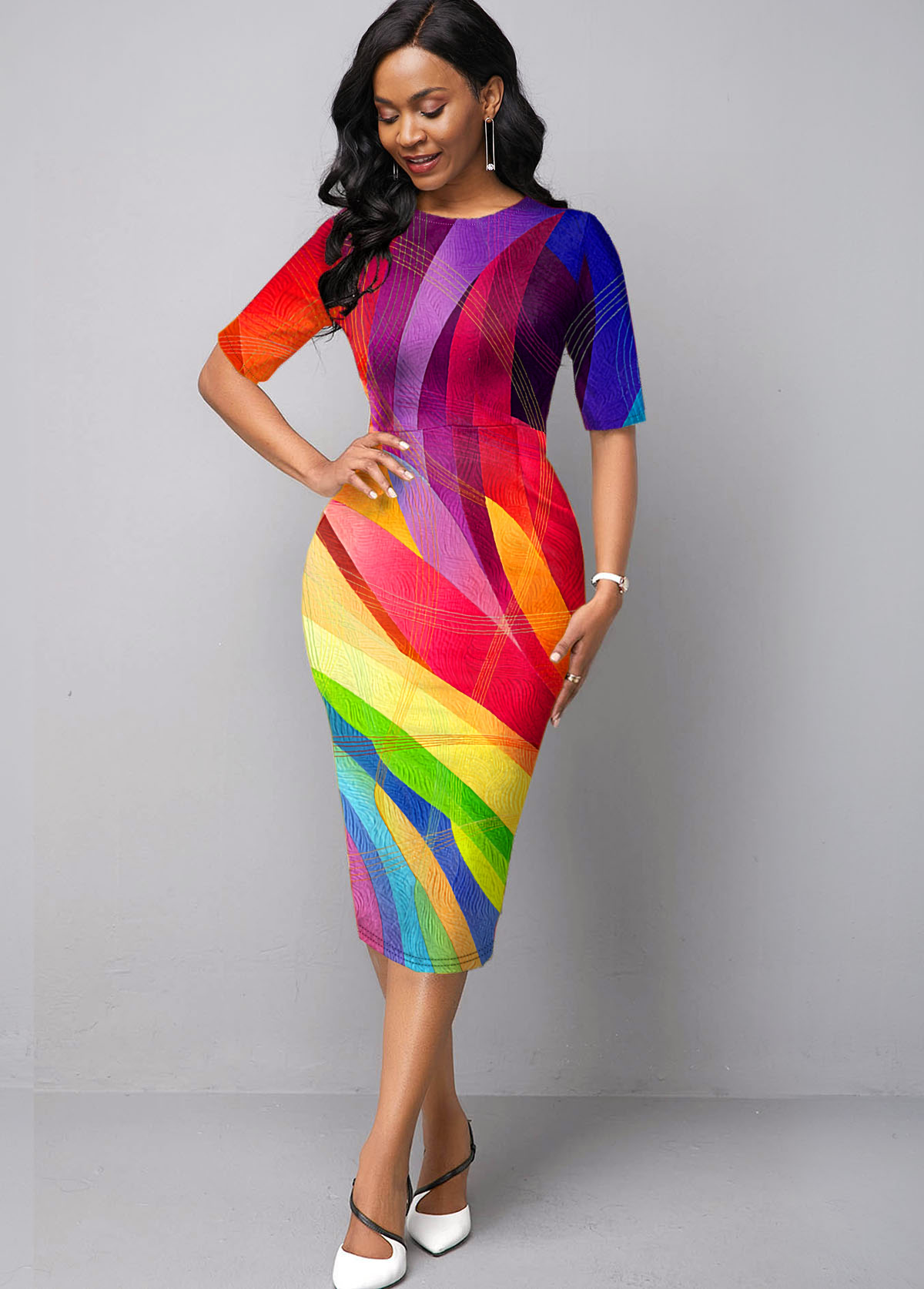 Rainbow Color Geometric Print Printed Dress