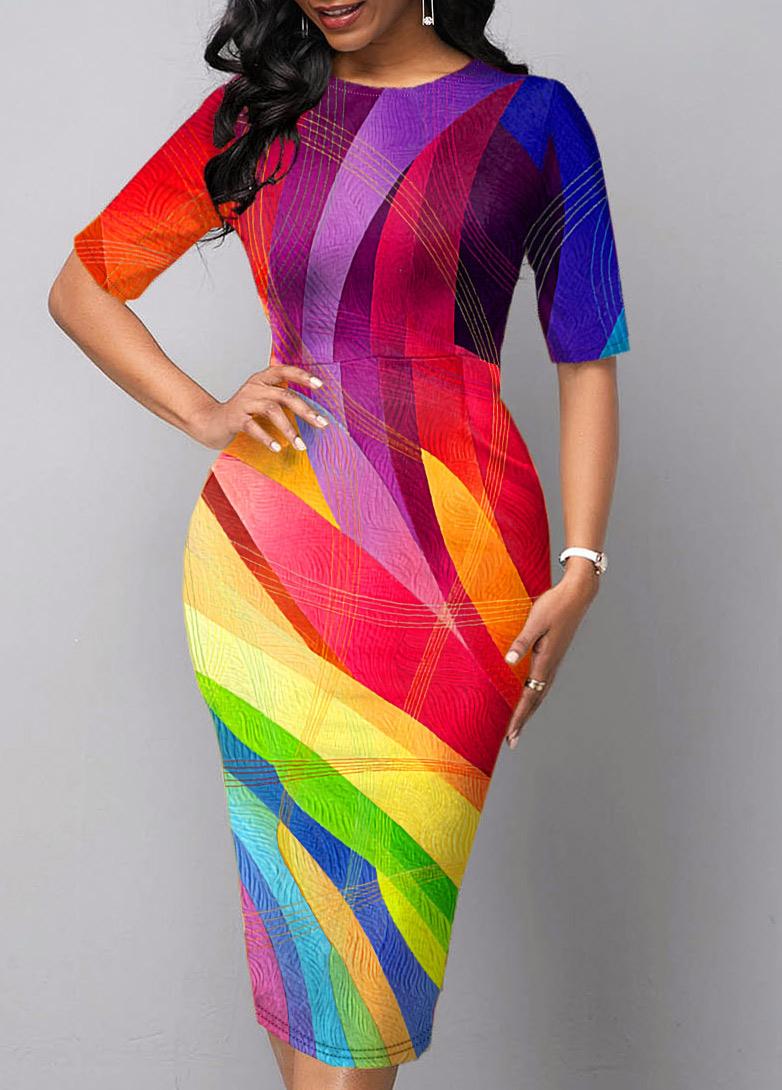 Rainbow Color Geometric Print Printed Dress