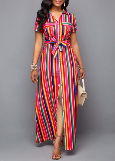 Women'S Multi Color Striped Belted Turndown Collar Button Up Maxi Shirt Dress Short Sleeve High Waisted Spring Casual Dress By Rosewe - L
