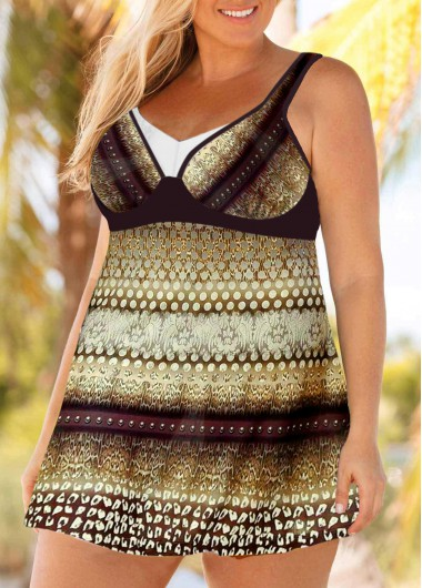 Women'S Multi Color Plus Size Tribal Printed Swimdress Bathing Suit V Neck Two Piece Padded Wire Free Swimsuit And Shorts By Rosewe - 0X