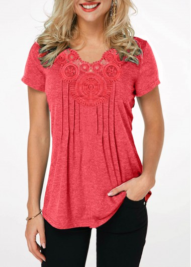 Short Sleeve Crinkle Chest Coral Red T Shirt - L