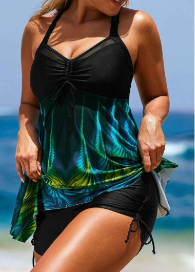 Women'S Black Printed Asymmetric Hem Tankini Swimsuit Strappy Padded Wire Free Bathing Suit And Shorts By Rosewe - 10