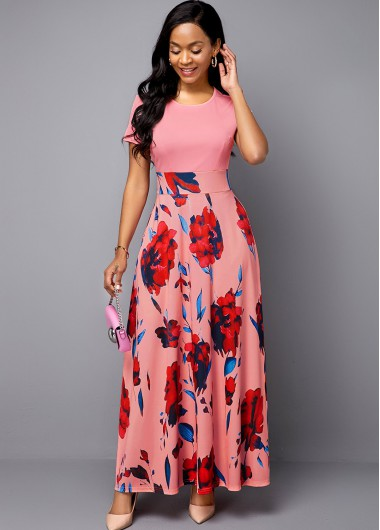 Women'S Pink Floral Print Short Sleeve Spring Dress High Waisted Casual Dress By Rosewe - 10