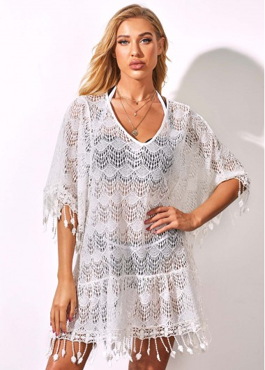 Rosewe Women White Lace Cover Up Tassel Hem Swimsuit Cover Up Three Quarter Sleeve Beach Covers Solid Color Swim Cover Ups - One Size