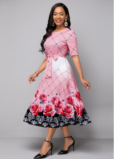 Women'S Pink Floral Print Belted A Line Spring Dress Round Neck High Waisted Half Sleeve Midi Casual Dress By Rosewe - 10
