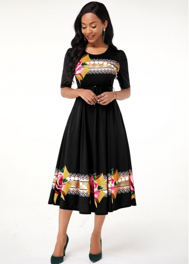 Women'S Black Floral Print A Line Casual Dress Half Sleeve Round Neck Midi Dress By Rosewe - 18