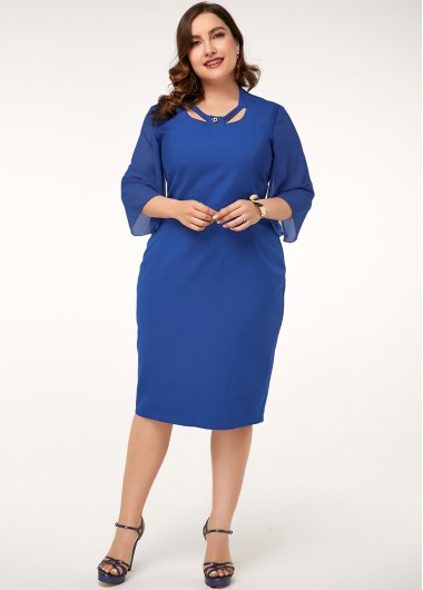 Royal Blue Three Quarter Sleeve Plus Size Dress - 16W