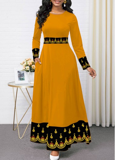 Women'S Yellow Tribal Printed Elegant Dress Vintage Long Sleeve Round Neck High Waisted Maxi Dress By Rosewe - L