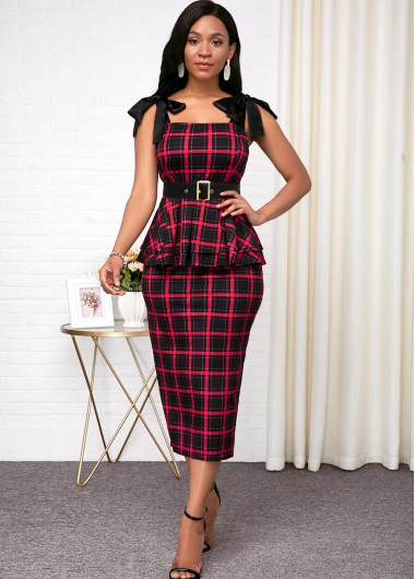 Women'S Red Plaid Printed Sheath Cocktail Party Dress Strappy Sleeveless Bowknot Belted Midi Elegant Work Dress  By Rosewe - 10
