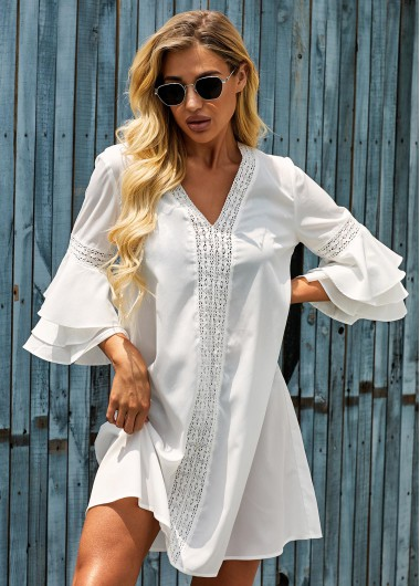 Rosewe Women Beach Cover Ups White Bikini Cover Up V Neck Flare Sleeve Swim Cover Ups Solid Color Swimsuit Cover Ups - L