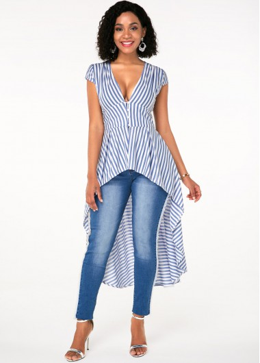 Short Sleeve V Neck Stripe Print T Shirt