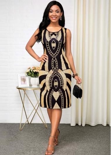 Women'S Black Tribal Printed Sleeveless Sheath Cocktail Party Dress Round Neck Midi Elegant Dress By Rosewe - 10