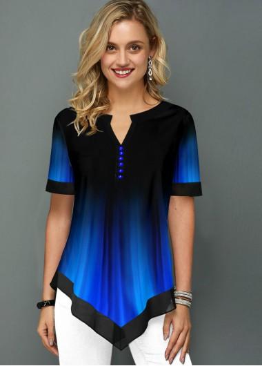 Women'S Royal Blue Split Neck Short Sleeve Tunic Blouse Printed Asymmetric Hem Casual Top By Rosewe - 10