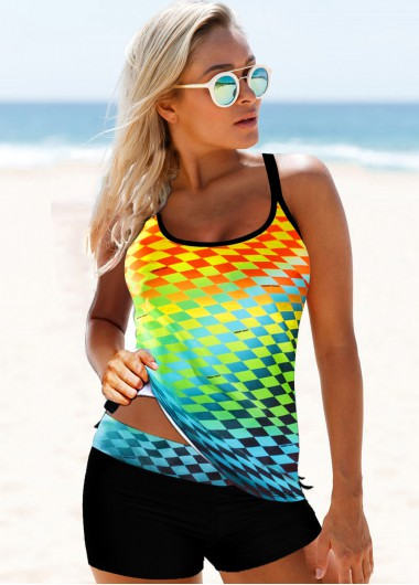 Women'S Multi Color Cross Strap Printed Two Piece Tankini Swimsuit Padded Wire Free Bathing Suit And Shorts By Rosewe - 10