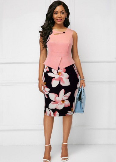 Women'S Pink Floral Printed Sleeveless Sheath Spring Dress Knee Length Button Detail Elegant Cocktail Party Dress By Rosewe - 10