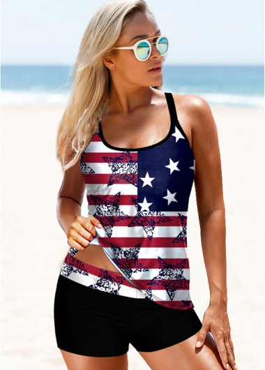 4Th Of July Women'S Navy Blue American Flag Print Patriotic Tankini Swimsuit Two Piece Padded Wire Free Cross Strap Bathing Suit By Rosewe - 10
