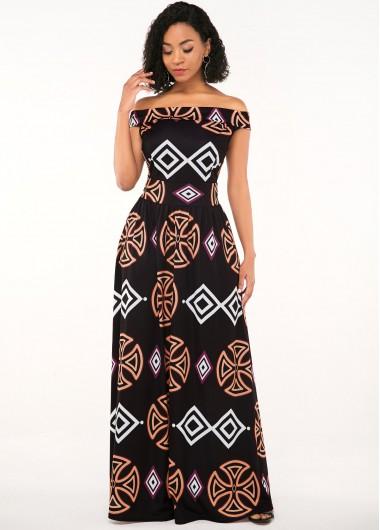 Black Dresses Zipper Closure African Print Off the Shoulder Dress - L