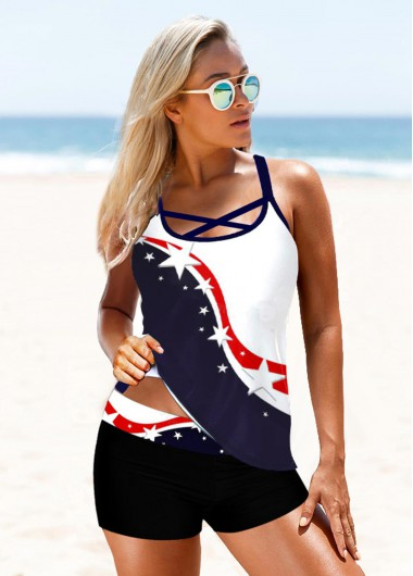 4Th Of July Women'S Navy Blue Patriotic Flag Pinted Two Piece Tankini Swimsuit Cross Strap Padded Wire Free Bathing Suit And Shorts By - 12