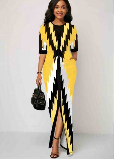 Women'S Yellow Geometric Print Half Sleeve Maxi Spring Dress Round Neck Elegant Cocktail Party Dress By Rosewe - 10
