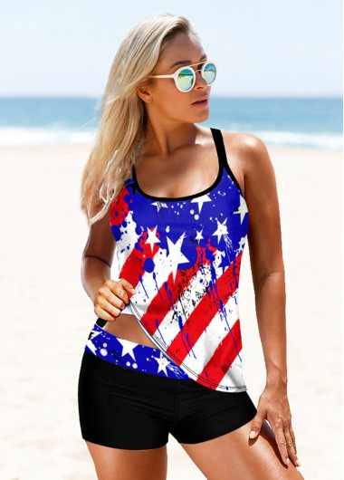 4Th Of July Women'S Color Block American Flag Printed Wide Strap Tankini Swimsuit Patriotic Criss Cross Back Two Piece Bathing Suit By - 12