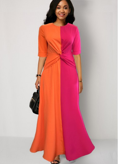 Cocktail Party Dress Color Block Half Sleeve Round Neck Maxi Dress - 10