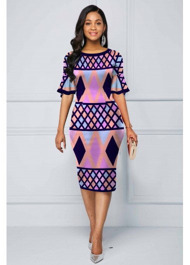 Wedding Guest Dress Flare Sleeve Multi Color Geometric Print Dress - 10