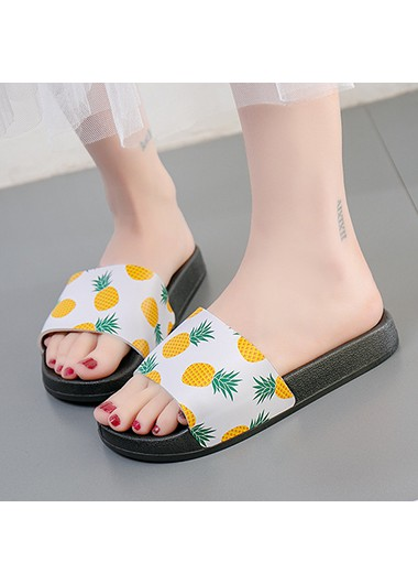 Yellow Fruit Print Fuax Leather Sliders