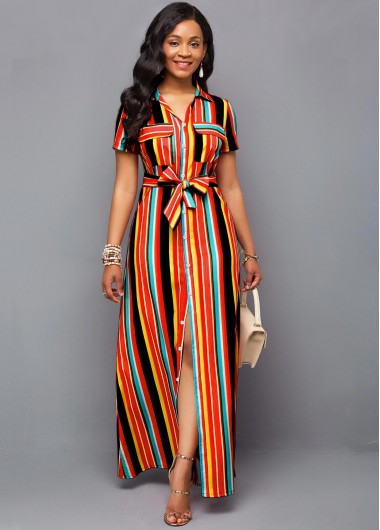 Women'S Multi Color Stripe Printed Maxi Casual Shirt Dress Belted Short Sleeve Elegant Work Dress By Rosewe - 10