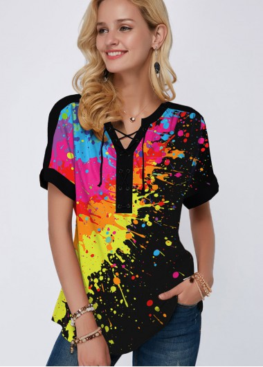 Printed Split Neck Short Sleeve Rainbow Color Blouse - 10
