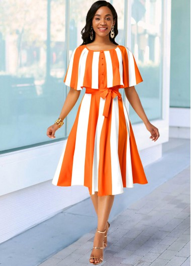 Rosewe Summer Dress For Women Orange Striped Belted Cape Sleeve A Line Midi Casual Dress - 10