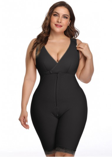 Women'S Black Wide Strap Plunging Neck Mid-Thigh Shapewear Bodysuit Solid Color Zipper Closure Padded Wire Free Shapewear Bodysuit By - 2XL