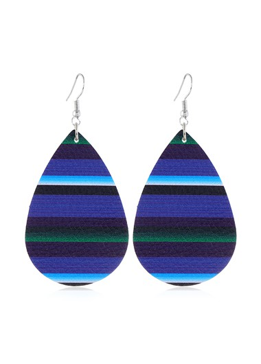 Mother's Day Gifts Drop Shape Multi Color Stripe Print Earrings - One Size