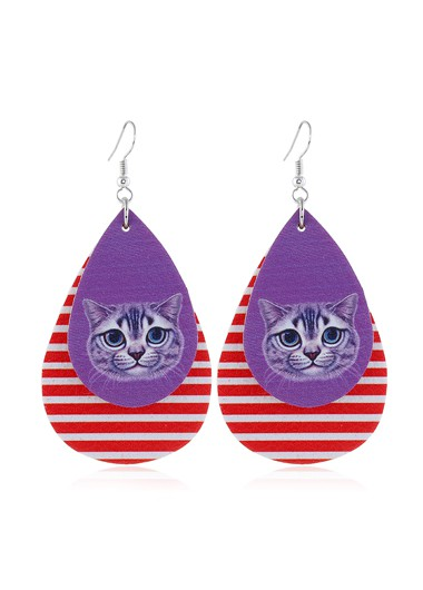 Mother's Day Gifts Cute Animal Print Striped Earring Set - One Size