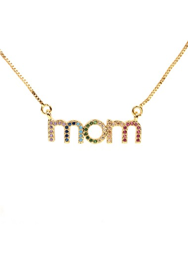 Mother's Day Gifts Letter Shape Rhinestone Detail Gold Brown Necklace - One Size