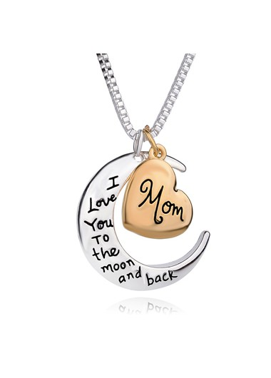 Mother's Day Gifts Moon and Heart Shape Letter Print Necklace - One Size