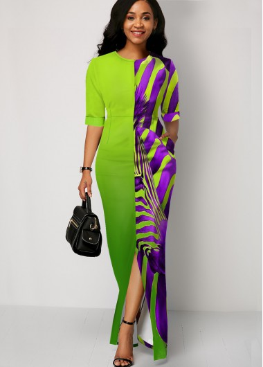 Cocktail Party Dress Split Front Zebra Print Color Block Maxi Dress - 10