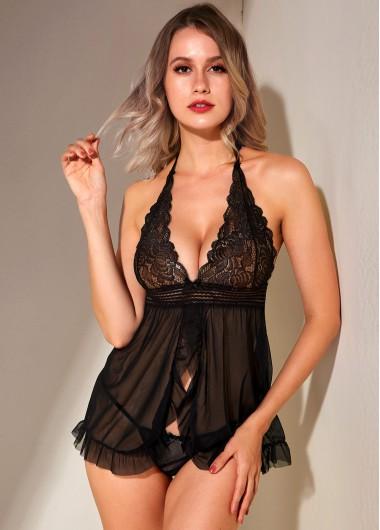 Sexy Babydoll Lingerie Chemises Lace Panel Halter Black Pajama Set - 5XL
