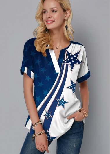4Th Of July Women'S Blue Star Printed Flag Day Patriotic Blouse Split Neck Short Sleeve American Flag Printed Tunic Casual Top By Rosewe - 10