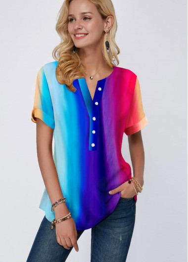 Button Detail Rainbow Color Short Sleeve Blouse - 10