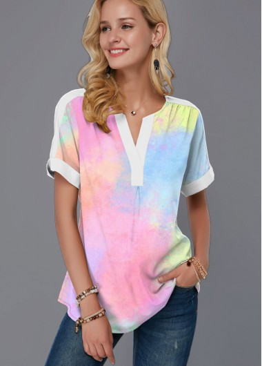 Multi Color Short Sleeve Split Neck Blouse - L