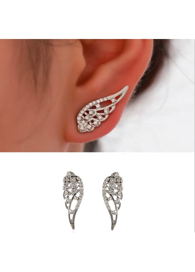 Mother's Day Gifts Rhinestone Angle Swings Silver Earrings - One Size