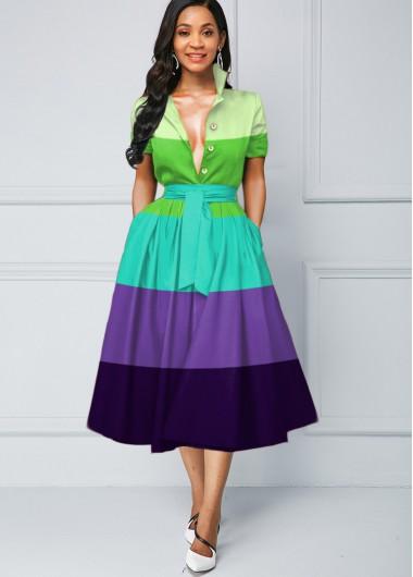 Wedding Guest Dress Button Detail Color Block Stripe Print Dress - L