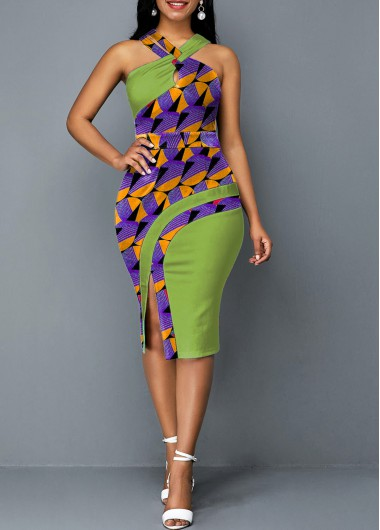 Wedding Guest Dress Cross Halter Printed Green Side Slit Dress - L