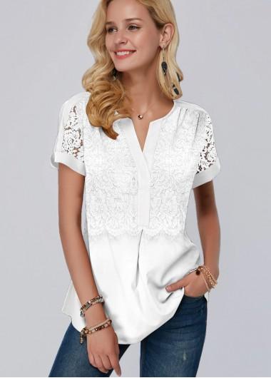 Short Sleeve Lace Panel White Blouse - M