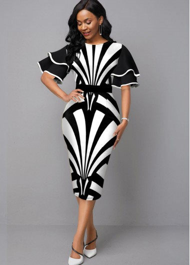 Women'S Black And White Flare Sleeve Sheath Elegant Cocktail Party Dress Color Block Printed Half Sleeve Round Neck Midi Dress By Rosewe - L