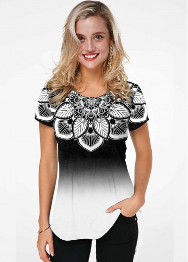 Short Sleeve Gradient Flower Print T Shirt - L