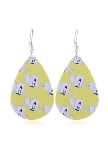 Mother's Day Gifts Drop Shape Printed Yellow Earrings - One Size