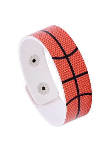 Mother's Day Gifts Orange Faux Leather Buckle Sport Bracelet - One Size
