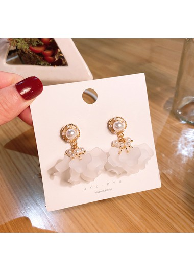 Mother's Day Gifts Flower Shape Pearl Embellished White Earring Set - One Size