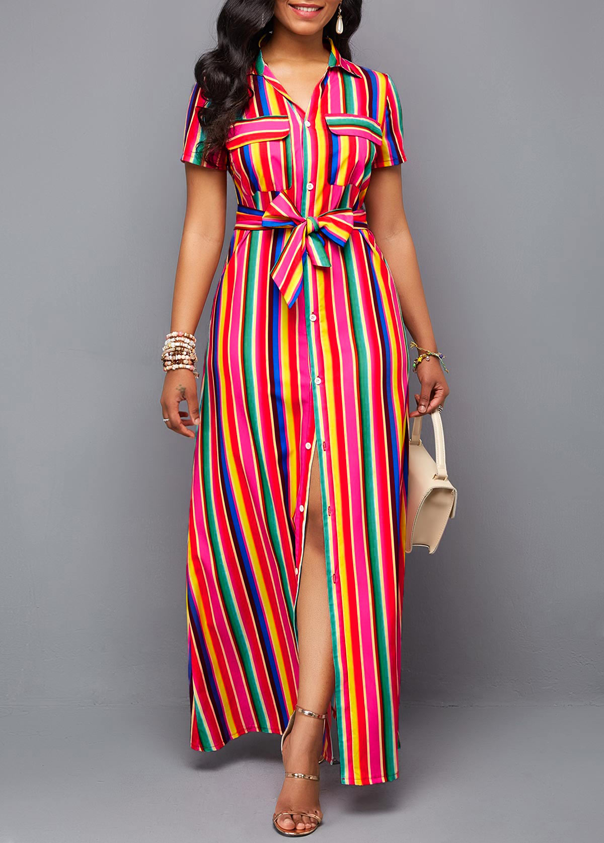 Belted Turndown Collar Button Up Rainbow Color Dress